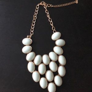 Blue and gold tear drop statement piece necklace